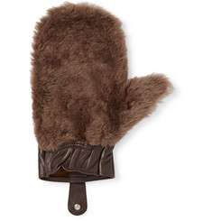 Cedes Milano Shearling and Leather Shoeshine Mitt