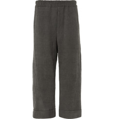 By Walid Cropped Wide-Leg Slub Linen Trousers