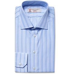 Turnbull & Asser Blue Slim-Fit Striped Puppytooth Cotton Shirt