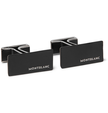 montblanc male montblanc pvdcoated stainless steel cufflinks black