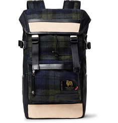Master-Piece - Leather-Trimmed Nylon and Checked Wool Backpack
