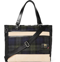 Master-Piece Leather-Trimmed Nylon and Checked Wool Tote Bag