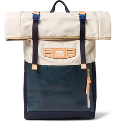 Master-Piece Roll-Top Leather-Panelled Canvas Backpack