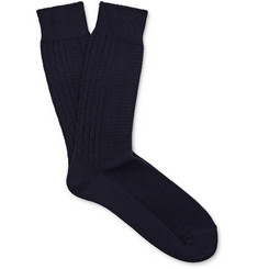 Mr. Gray - Aran Knitted Cotton-Blend Socks