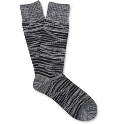 Mr. Gray - Space-Dyed Ribbed-Knit Socks