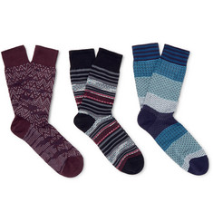 Missoni Three-Pack Patterned Cotton Socks