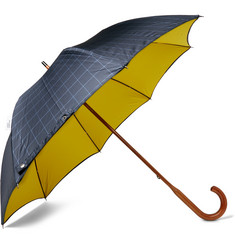London Undercover - Maple Wood-Handle Windowpane-Checked Twill Umbrella