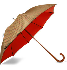 London Undercover Maple Wood-Handle Houndstooth Twill Umbrella