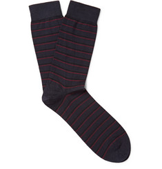 John Smedley Epsilon Striped Sea Island Cotton-Blend Socks