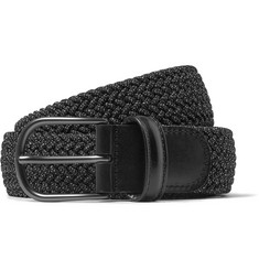 Anderson's 3cm Grey Leather-Trimmed Woven Elastic Belt