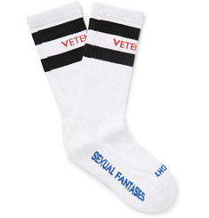 Vetements Striped Stretch Cotton-Blend Socks