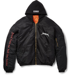 Vetements Oversized Embroidered Shell Hooded Bomber Jacket
