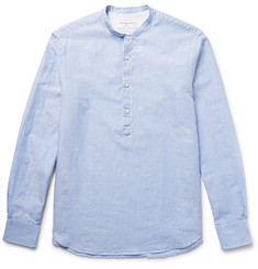 Officine Generale - Grandad-Collar Striped Cotton and Linen-Blend Shirt