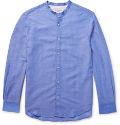 Officine Generale Slim-Fit Grandad-Collar Cotton and Linen-Blend Shirt