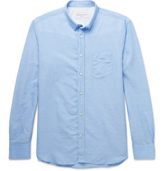 Officine Generale Penny-Collar Slub Cotton and Linen-Blend Shirt