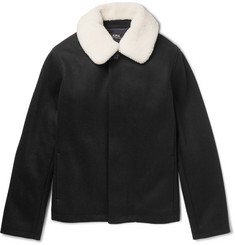 A.P.C. - Davy Shearling-Trimmed Wool-Blend Blouson Jacket