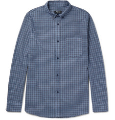 A.P.C. Marlon Slim-Fit Button-Down Collar Checked Cotton Shirt