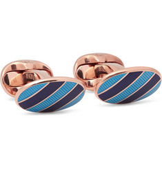 Kingsman + Deakin & Francis Enamelled Rose Gold-Plated Sterling Silver Cufflinks