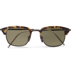 Thom Browne Square-Frame Tortoiseshell Acetate and Pewter-Tone Sunglasses