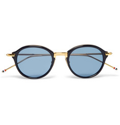 Thom Browne Round-Frame Acetate and Gold-Tone Sunglasses