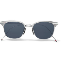 Thom Browne D-Frame Striped Brushed Silver-Tone Sunglasses