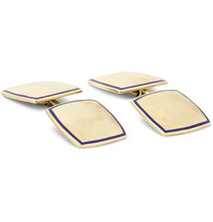Foundwell Vintage - 1930s Carrington & Co. 14-Karat Gold and Enamel Cufflinks