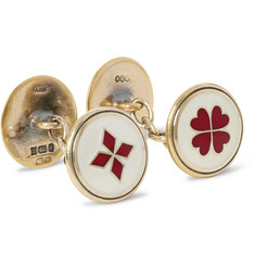 Foundwell Vintage Gold-Tone Sterling Silver and Vitreous Enamel Cufflinks