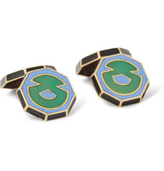 Foundwell Vintage - 1920s Art Deco 18-Karat Gold and Vitreous Enamel Cufflinks