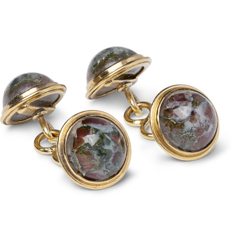 FOUNDWELL 1940S 14-Karat Gold Agate Cufflinks
