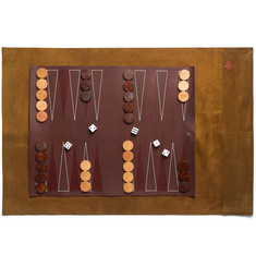 Folk Suede and Leather Travel Backgammon Set