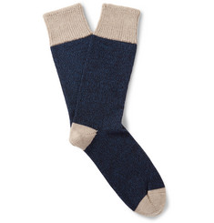 Corgi Colour-Block Wool And Cotton-Blend Socks