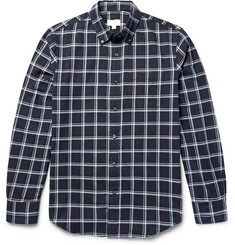 Club Monaco Slim-Fit Button-Down Collar Windowpane-Checked Cotton-Flannel Shirt