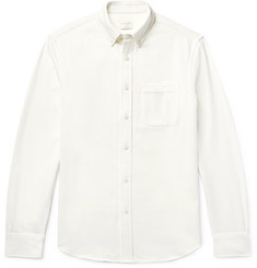 Club Monaco Slim-Fit Button-Down Collar Brushed Cotton And Wool-Blend Twill Shirt