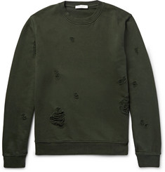 Sandro Distressed Loopback Cotton-Jersey Sweatshirt