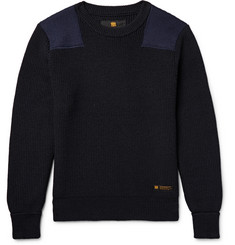 Neighborhood Commander Panelled Ribbed Wool Sweater