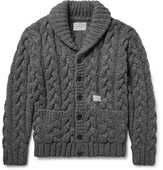 Neighborhood Shawl-Collar Cable-Knit Wool Cardigan