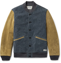 Neighborhood Indigo-Dyed Cotton-Blend Corduroy and Suede Varsity Jacket