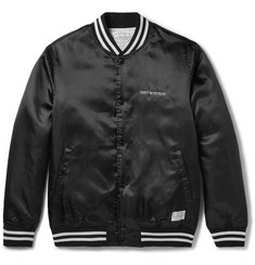 Neighborhood Embroidered Satin Bomber Jacket