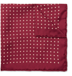 Emma Willis Polka-Dot Printed Silk Pocket Square