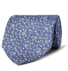 Emma Willis 9cm Floral-Print Silk and Linen-Blend Tie