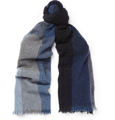 Begg & Co Checked Lambswool and Cashmere-Blend Scarf