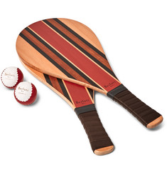 Berluti - Leather-Trimmed Wooden Beach Bat and Ball Set