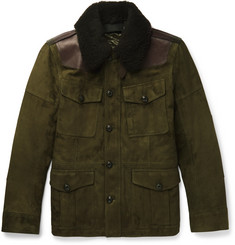 Ralph Lauren Purple Label Shearling and Leather-Trimmed Suede Field Jacket