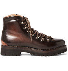 Ralph Lauren Purple Label Fidel II Burnished-Leather Boots