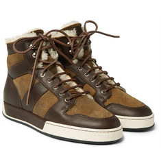 Ralph Lauren Purple Label - Blayne Panelled Leather and Shearling High-Top Sneakers
