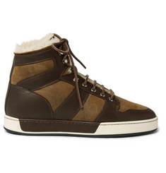 Ralph Lauren Purple Label Blayne Panelled Leather and Shearling High-Top Sneakers
