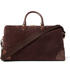 Ralph Lauren Purple Label Leather-Trimmed Suede Duffle Bag