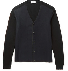 Solid Homme Two-Tone Wool-Blend Cardigan