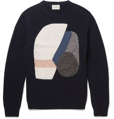 Solid Homme Intarsia Wool-Blend Sweater