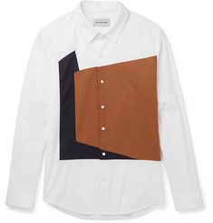 Solid Homme Slim-Fit Panelled Cotton-Blend Poplin Shirt